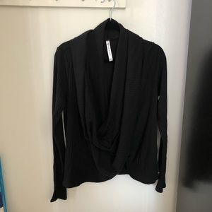 Fabletics Black Wrap Slouch Top XL Extra Large